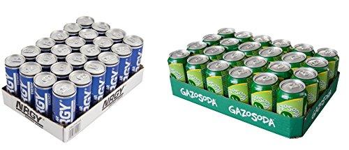 24 Dosen NRGY Regular und 24 Dosen GAZOSODA Limonadengetränk (Cola Dose Kostüme)