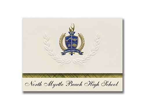 Signature Ankündigungen North Myrtle Beach High School (Little River, SC) Graduation Ankündigungen, Presidential Elite Pack 25mit Gold & Blau Metallic Folie Dichtung
