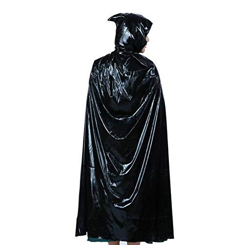 Killer Zombie Frau Kostüm - PINGTANG Extra Lange Kapuze Satin Umhang, Frau Mann Unisex Ganzkörperansicht Kapuzenumhang Vampire Wizard Cape für Halloween Carnaval,Schwarz,L