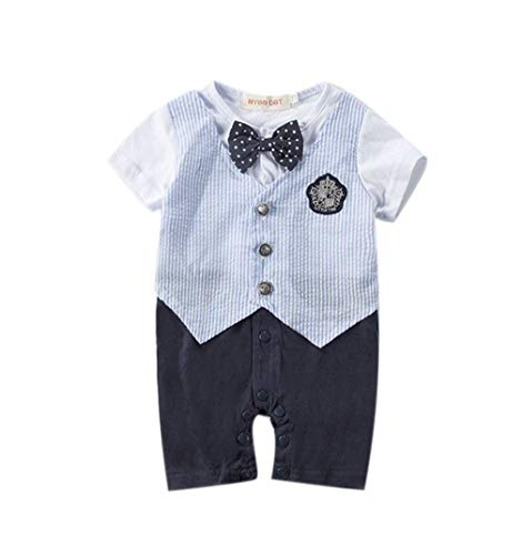 ENCOCO Baby Jungen Strampler, Strampler, Strampler, Overall, Hochzeit, formelles Smoking Anzug Set, Navy Blue&Stripe, 80 -
