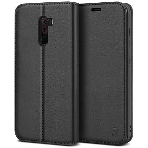 BEZ Handyhülle für Xiaomi Pocophone F1Hülle, Tasche Kompatibel für Xiaomi Pocophone F1, Schutzhüllen aus Klappetui mit Kreditkartenhaltern, Ständer, Magnetverschluss, Schwarz