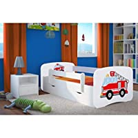 Wonderhome24 White Toddler Bed with Mattress & Storage Included. Children Bed, Animals, Cars, (Fire Fighters, 180x80)
