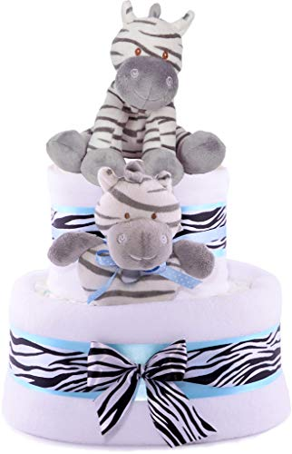 Regalo fiesta bebé forma tarta 3 niveles, color azul