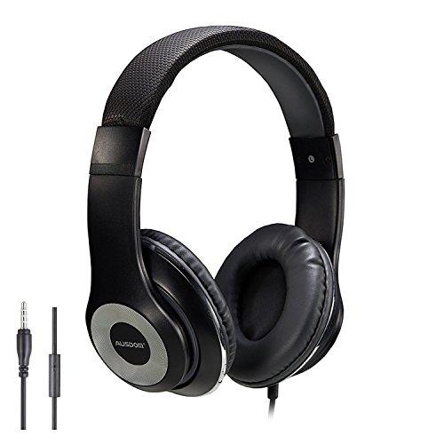 Ausdom F01 Auricular Ligero Multimedia Ajustable Air-Fi HiFi HD Estéreo Universal Port 3.5mm Plegable con cable y con Micrófono Incorporado, Compatible para iPhone, Samsung Galaxy Smarphone, Negro