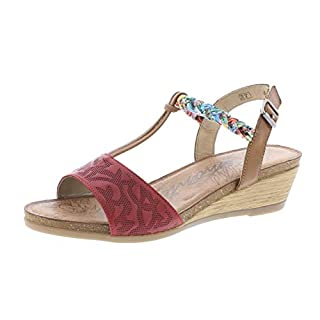 Remonte R4459 Women,Wedge Sandals,Summer Shoes,Comfortable,Flat,rosso/nuss/nuss-antik/33,38 EU / 5 UK