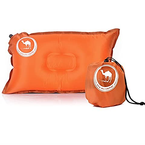 Asenart Inflatable Travel Pillow, Lightweight Self Inflating Travel Pillow, Air Travel Pillowcomfortable inflatable pillow for the airplane, beach, car, camping, or relaxing outdoors (Orange)