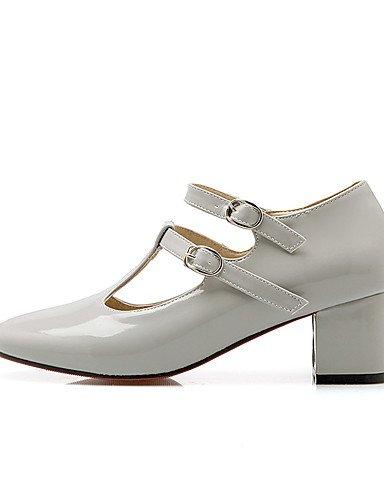 WSS 2016 Chaussures Femme-Habillé / Décontracté / Soirée & Evénement-Noir / Rouge / Gris-Gros Talon-Talons / Bout Arrondi-Talons-Cuir Verni black-us9.5-10 / eu41 / uk7.5-8 / cn42