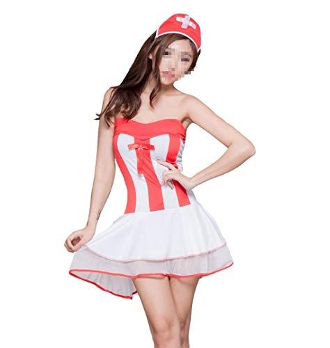(AHIMITSU Sexy Krankenschwestern-Uniform, Halloween, Rolle, für Krankenschwester, Versuchungsrock, Hut, Spielanzug (Einheitsgröße))
