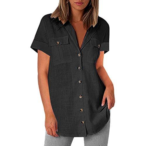Kviklo Damen Shirts Bluse Linen Solid Einfarbig Knopf Tasche Kurzarm Loose Casual Tops(2XL(44),Schwarz) (Usher Kleid)