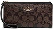 Coach Women's Signature Long Wallet, PVC Leather - Brown/B