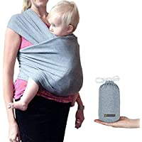 Wenscha Baby Wrap Carrier Adjustable Breastfeeding Cover Cotton Sling Baby Carrier for Infants up to 35 lbs/16kg, Soft and Comfortable (Dark Gray)