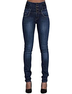 WintCO Pantalones Vaqueros para Mujeres Jeans Largos con Cintura Alta
