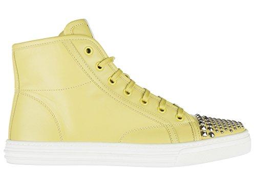 Gucci scarpe sneakers alte donna in pelle nuove mimosa flower giallo EU 37 370875 BBD00 7209