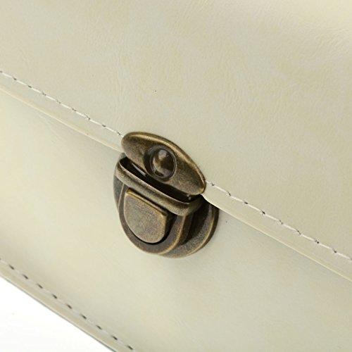 Frauen Schultertasche PU-Kettenschulterkurier Umhängetasche Schulranzen Handtasche Schwarz Weiß