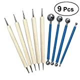 WINOMO 9pcs Ball Stylus Dotting Tools Set for Embossing Pattern Clay Tools for Carving Sculpting