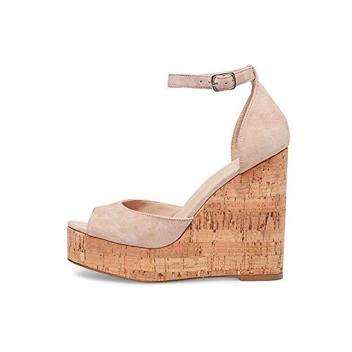 Keilabsatz Damen Peep-Toe Sandalen Sommerschuhe,MWOOOK-874 Extreme Hohe Plattform Knöchelriemen Keilabsatz Sandalen Schuhe,Nude,43 -