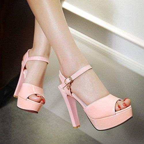 YE Damen High Heels Plateau Lackleder Peeptoes Sandalen mit Riemchen Roter Sohle Pumps Schuhe Rosa