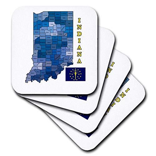 777images Flaggen und Karten-Staaten-Flagge und County Map The State of Indiana. countys Etikettiert, farbige-Untersetzer, Gummi, set-of-8-Soft -