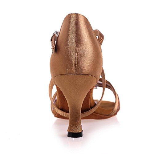 Zapatos Latinos De La Danza De La Hembra Gasa Hebilla Flash De Interior Hebilla Multicolor Hecha A Mano De Gran Tamaño # Brown