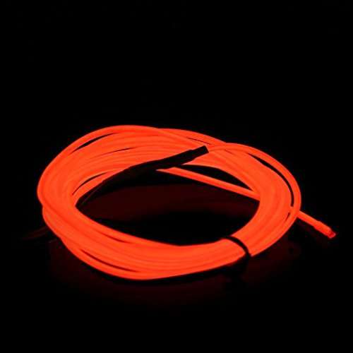 ILOVEDIY 3M Fil Neon Flexible Led Lumière Bande de Corde Light À Piles EL Wire avec Boîte de Contrôle pour Voiture Décoration Fête Club Restaurant Café Jardin (Rouge, 3M)