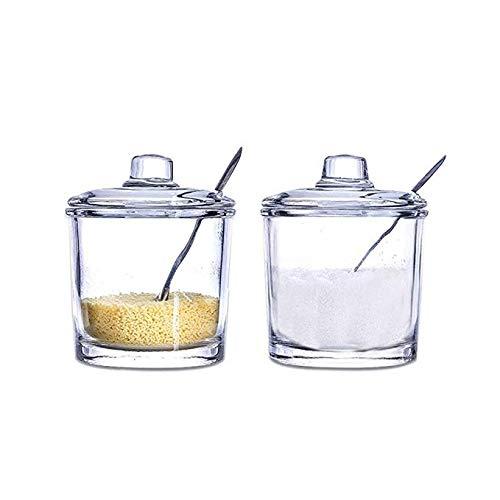 Tarro de Especia, 200ml Recipiente de Almacenamient de Cocina con Tapa y Cuchara de Condimento Frascos de Condimento para Sal, Azúcar, Almacenar Aceite, Vinagre, Granos, Harina y etc- 2Pcs
