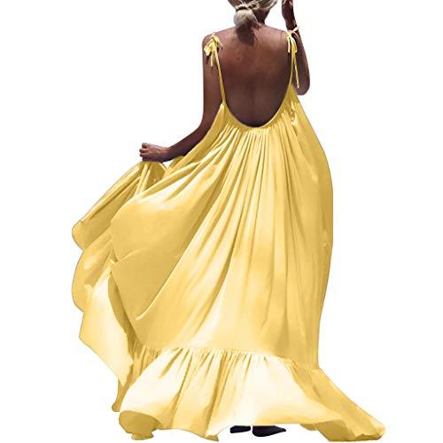 Kleid, Frauen Boho Maxi Solide Sleeveless Langes Rückenfreies Kleid Abend Party Strandkleid Ladies European Ins Style Blumenkleid Hochzeitskleid