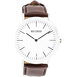 "RE:CRON women watch stainless steel 36 mm 1.42"" with brown leather wristband"