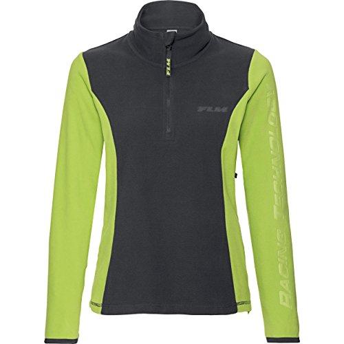 FLM Fleeceshirt Fleeceshirt Damen Fleece Shirt 1.0, Fleecepullover Damen, tragangenehmes Microfleece, farbig abgesetzte Details, grau/grün, M