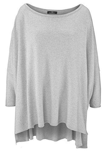 Poncho für Damen mit Kaschmir/Cashmere von Zwillingsherz/Modischer All-Rounder für Frauen als Alternative zu einem Strickwaren/Pulli/Strick-Pullover/Cardigan/Strick-Jacke hellgrau -