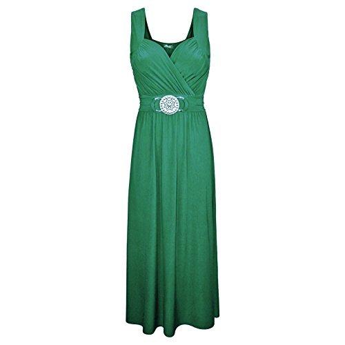 Damen Ärmellos Vordere Schnalle Raffhalter Maxi Kleid Damen Cocktailkleid 8-26 Jadegrün - Damen Übergröße Maxi Kleid