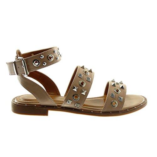 Cm Perforée Clouté 2 Sandale Femme Mode Angkorly Cheville Lanière OPikXZu