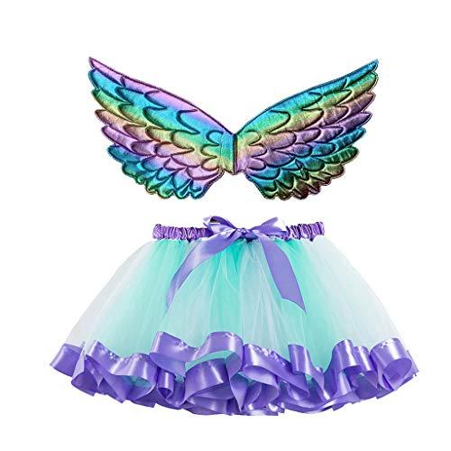 Lazzboy Kinder Mädchen Ballettröckchen Weihnachtsfeier Tanz Ballett Kleinkind Kostüm Rock+Flügel Sets Schmetterling Tüllrock Bunt Regenbogen Tütü Ballettrock Tutu(Blau,L)