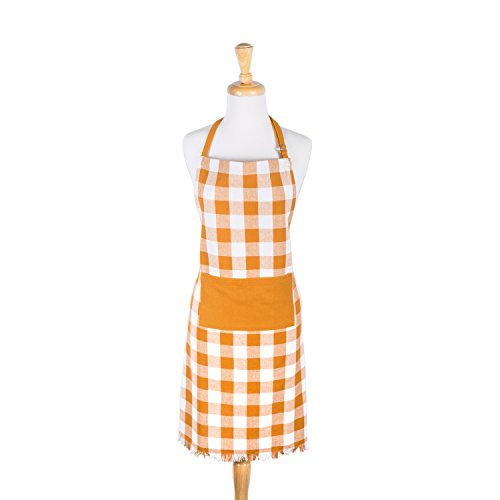 DII Cotton Adjustable Check Plaid Chef Apron with Pocket and Extra Long Ties, Heavyweight Woven Men and Women Fringed Kitchen Apron for Cooking, Baking and BBQ-Pumpkin Spice
