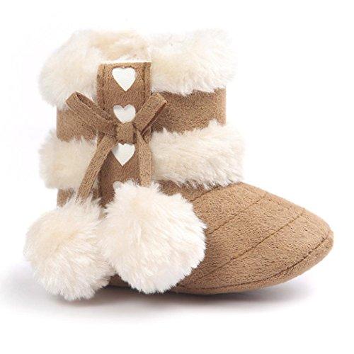 VENMO Baby weiche Sohle Schneeschuhe Weiche Krippe Schuhe Kleinkind Stiefel Quaste Schnee Stiefel Wandern Stiefel Kleinkind Mädchen Winter Baumwolle Stiefel Weiche Sohle Wanderschuhe (Size:11, Khaki)