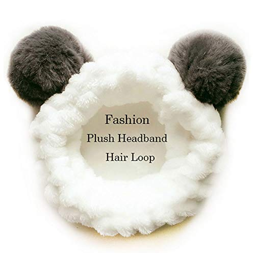 für Waschen Gesicht Dusche Spa Maske, Frauen Mädchen Mode Plüsch Stirnband Haarschleife Elastische Korallen Fleece Haarband mit Niedlichen Pompons Grau (Panda) ()