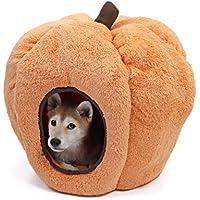 Speedy - Caseta para perros y gatos en forma de calabaza de Halloween con forro polar