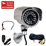 "VideoSecu 700TVL IR High Resolution Outdoor Security Camera Built-in 1/3"" SONY Effio CCD Day Night 28 Infrared LEDs Wide Angle for CCTV DVR Surveillance with Power Supply and Cable CN5"