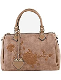 Leather Rose Floral Embroidered Hand Bag Brown