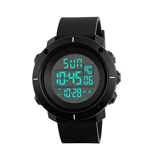 Digital-Sport-Uhr, Militär Outdoor Uhr für Männer Wasserdichte LED Wasserdicht Uhren Elektronische Gegenlicht 50M Wasserdicht Stoppuhr Alarm - Schwarz