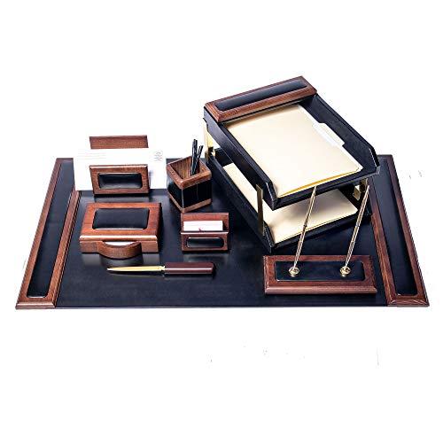 Dacasso Schreibtisch-Set, Walnuss und Schwarz Leder, 10-TLG. -