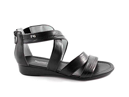 Jardins Pretas Sandália 12660 Preto Sapatos De Mulher Weave Zip Nero