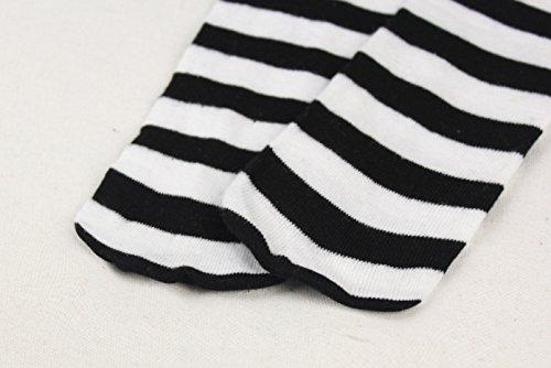WeiMay Calcetines hasta la rodilla para niños y niñas, antideslizantes, diseño de gatos, color blanco y negro 3