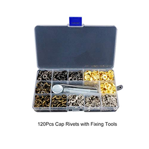 CHOULI Fasteners Leather Snaps Button Kit Press Studs Leather Rivets W/Fixing Tools 120Pcs Multi-Colors - Stud Tool Installation