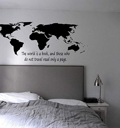 Lsfhb Wandaufkleber Die Welt Ist Ein Buch Weltkarte Wandaufkleber Schlafzimmer Hohe Qualität Home Decor Vinyl Wandtattoos Diy Aufkleber 55X85 Cm