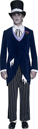 Smiffys, Herren Gothic Manor Bräutigam Kostüm, Jacke, Hose, Krawatte und Hut, Größe: L, 33586