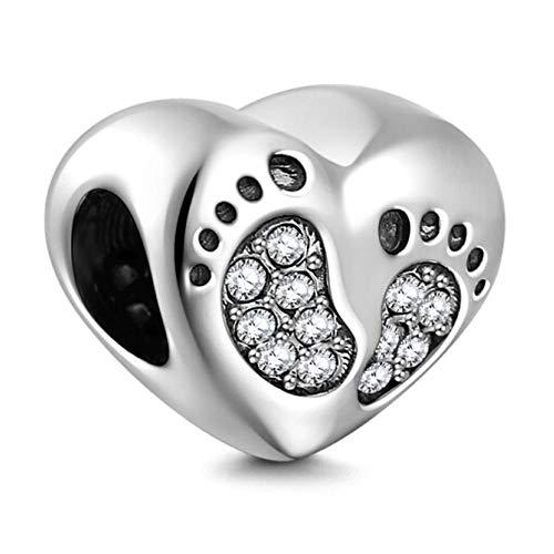 XY Bijoux Femme Charms et Perles Argent 925 - Pieds de Bébé Charm Adorable en Forme Coeurs
