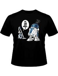 T-Shirt Geek - Parodie Star Wars - R2... Je suis ton père ! (en VO remasterisée !) - T-shirt Homme Noir - Haute Qualité (382)