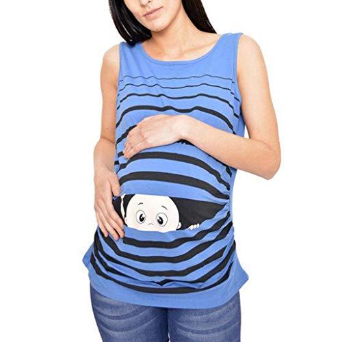 Vicgrey❤ canotta premaman top, shirt maglia camiciola manica corta, donna incinte bambino divertente stampa maglietta maternità camicia casual t-shirt senza maniche - abbigliamento premaman