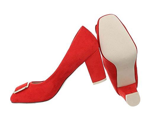 Damen Pumps Schuhe Elegant High Heels Bequeme Rot