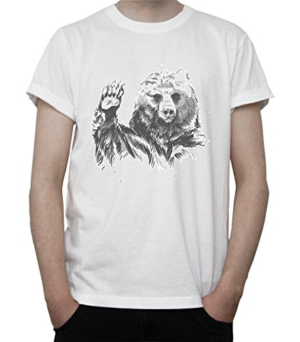 Grizzly Bear Art Mens T-Shirt Blanc